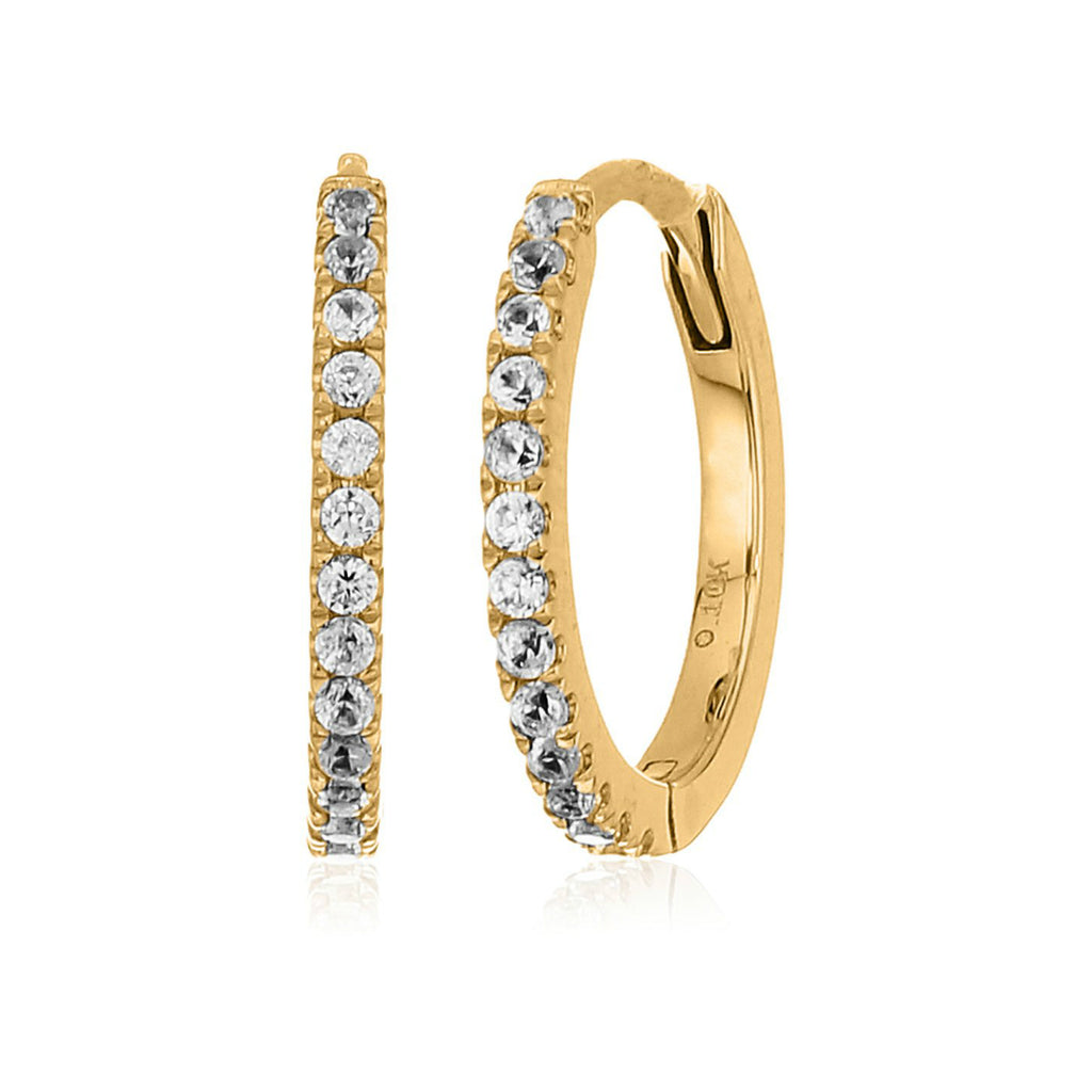 10k Yellow Gold White Zircon Small Hoop Earrings