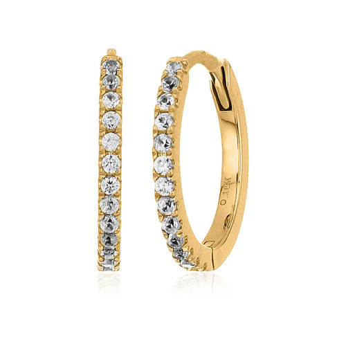 10k Yellow Gold White Zircon Small Hoop Earrings - pinctore