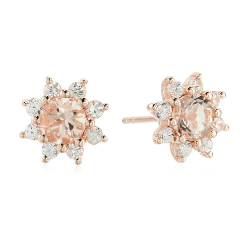 Pinctore Rose Gold-plated Silver Morganite Dangle Earrings