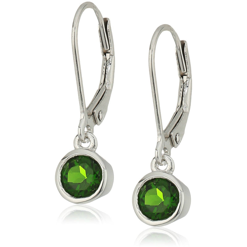 Pinctore Sterling Silver Chrome Diopside Lever Dangle Earrings