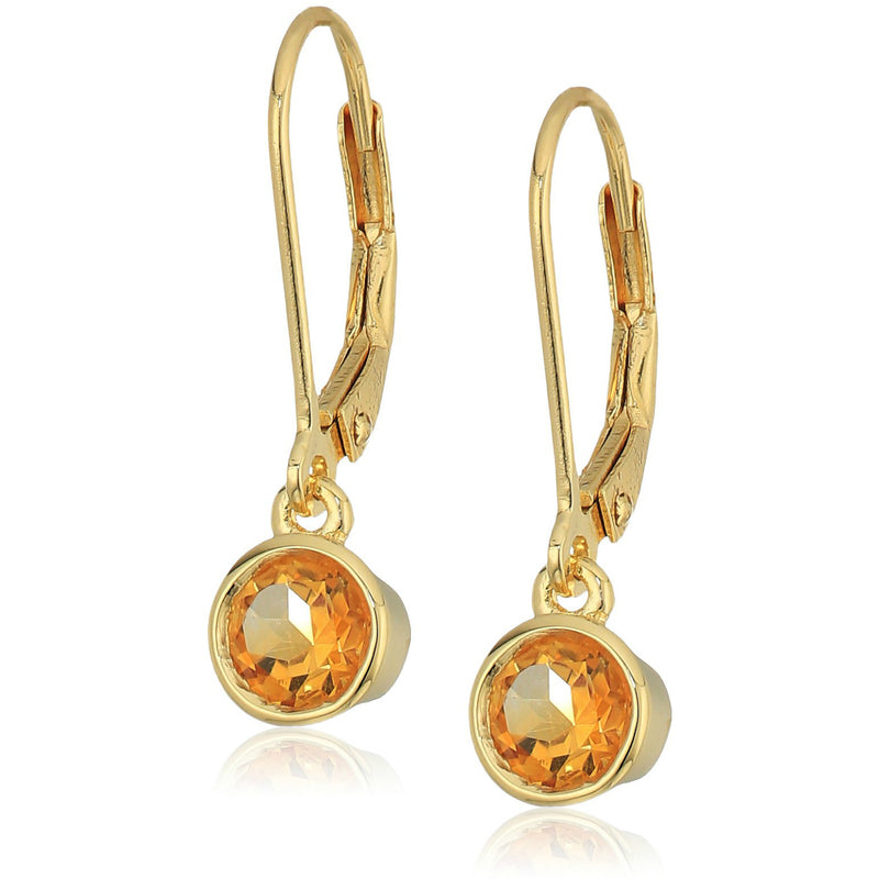 Pinctore Yellow Gold-plated Silver Citrine Lever Dangle Earrings