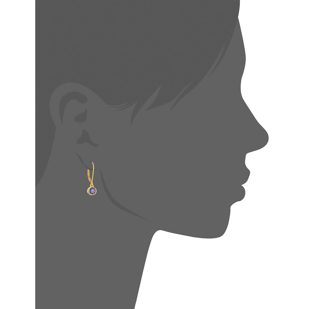 Yellow Gold-Plated Silver Tanzanite Lever Dangle Earrings - pinctore