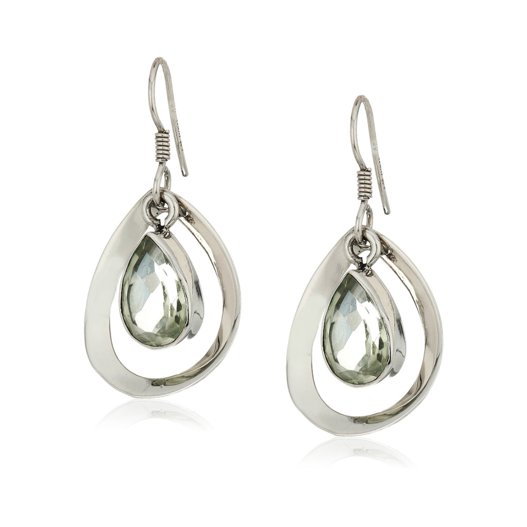 Sterling Silver Green Amethyst Dangle Earrings - pinctore