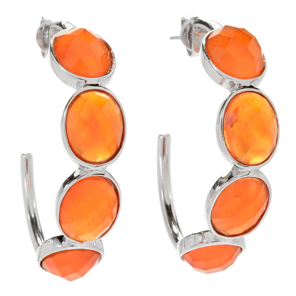 "Pinctore Sterling Silver 1.5"" dyed orange carnelian Checkerboard Cut 4-Stone Hoop Earrings - pinctore"