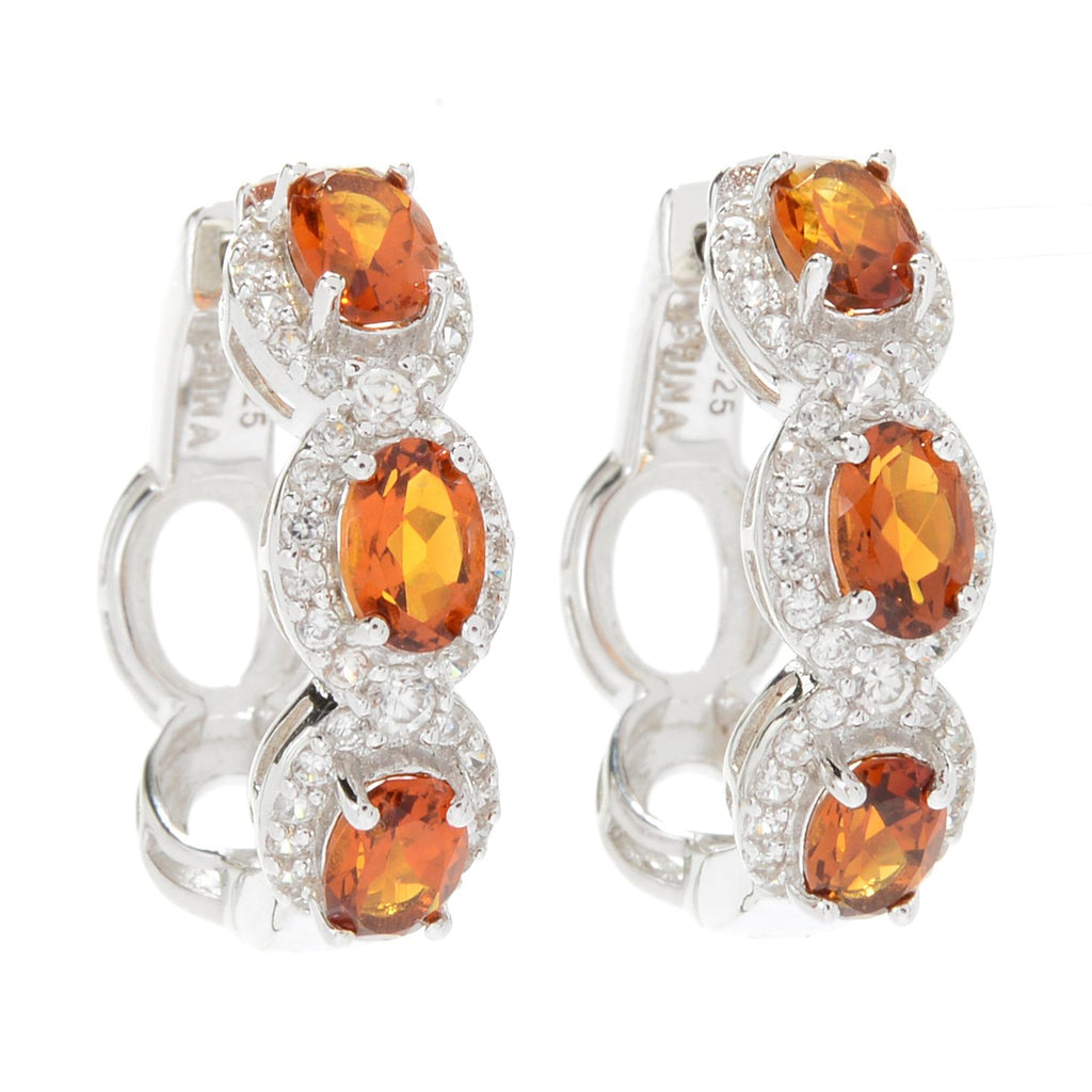 Pinctore Sterling Silver Madeira Citrine & White Zircon Halo Hoop Earrings - pinctore