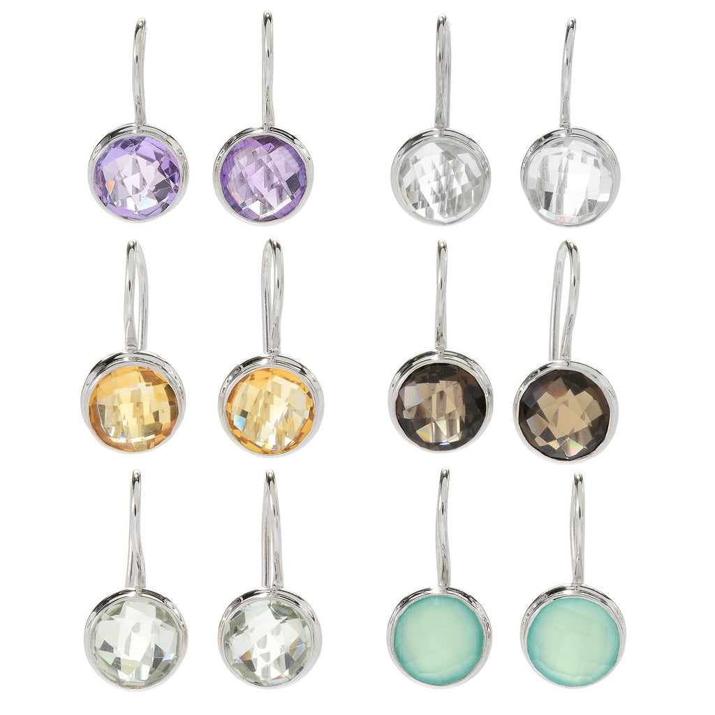 "Pinctore Set of 6 Sterling Silver 0.75"" Round Gemstone Drop Earrings"