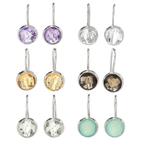 "Pinctore Set of 6 Sterling Silver 0.75"" Round Gemstone Drop Earrings - pinctore"