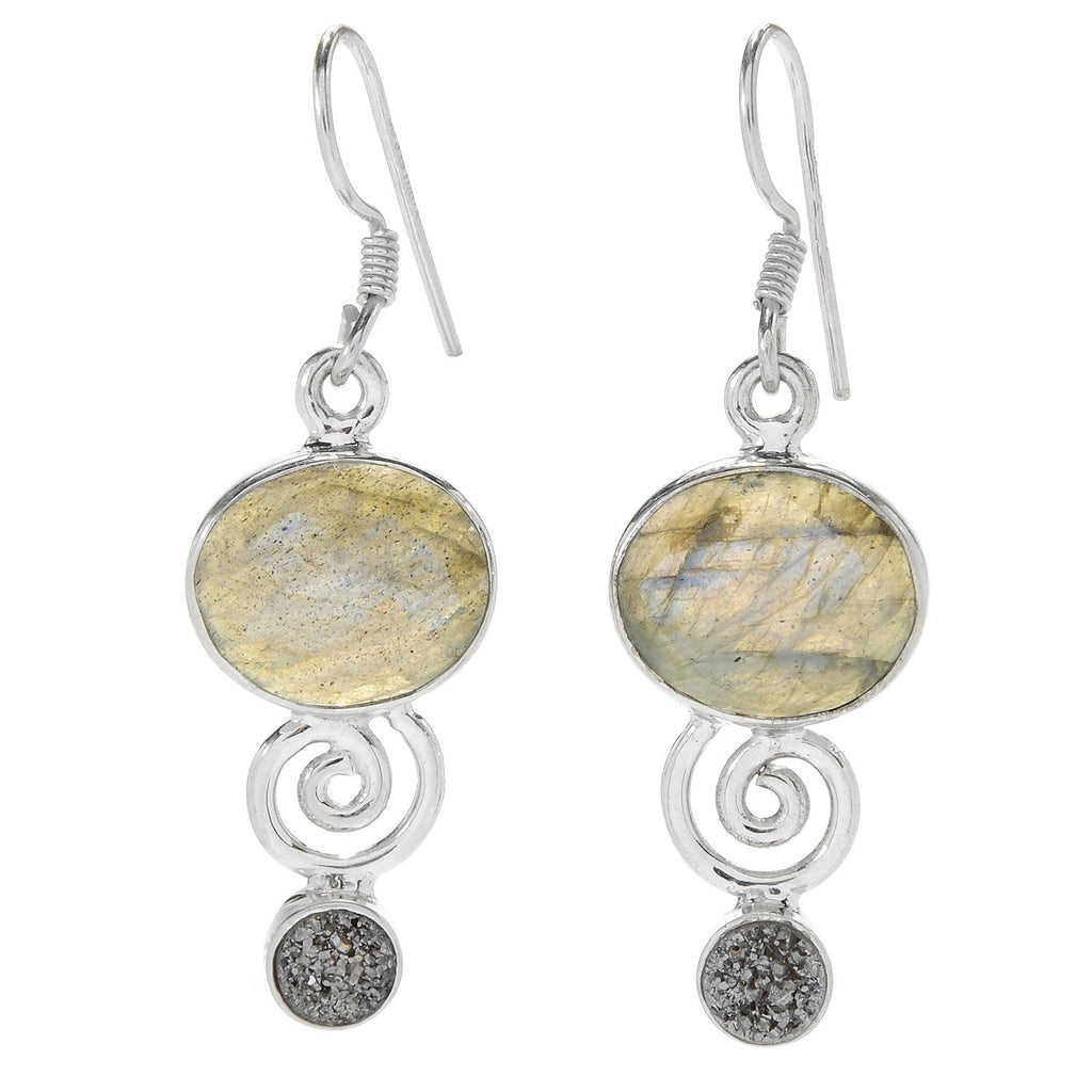 "Pinctore Sterling Silver 1.5"" 12 x 10mm Labradorite & Drusy Drop Earrings"