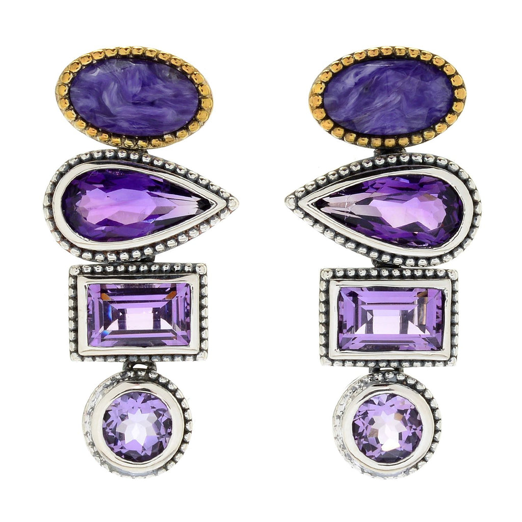 "Pinctore Sterling Silver 1.25"" Multi Cut Amethyst Stacked Drop Earrings - pinctore"