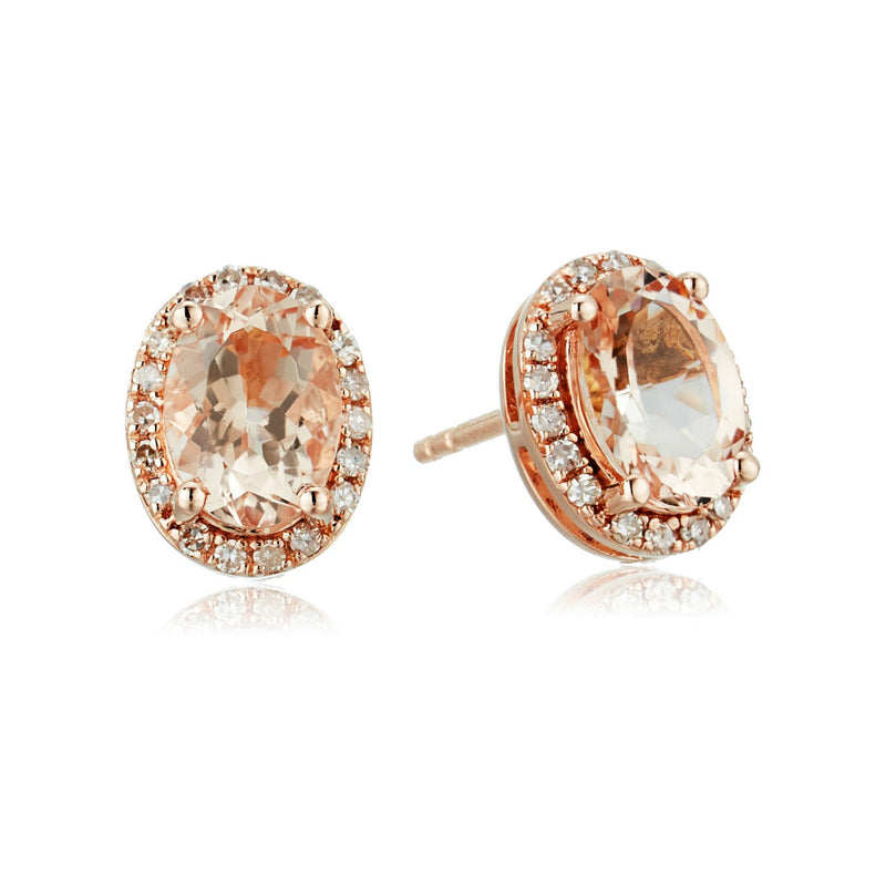 14k Rose Gold Oval Morganite and Diamond Halo Stud Earrings (1/8 cttw, H-I Color, I1-I2 Clarity) - pinctore