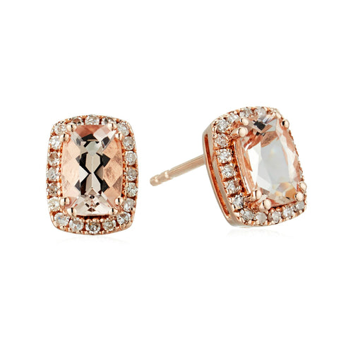 Pinctore 14k Rose Gold 1 cttw Cushion Morganite and Diamond Halo Stud Earrings