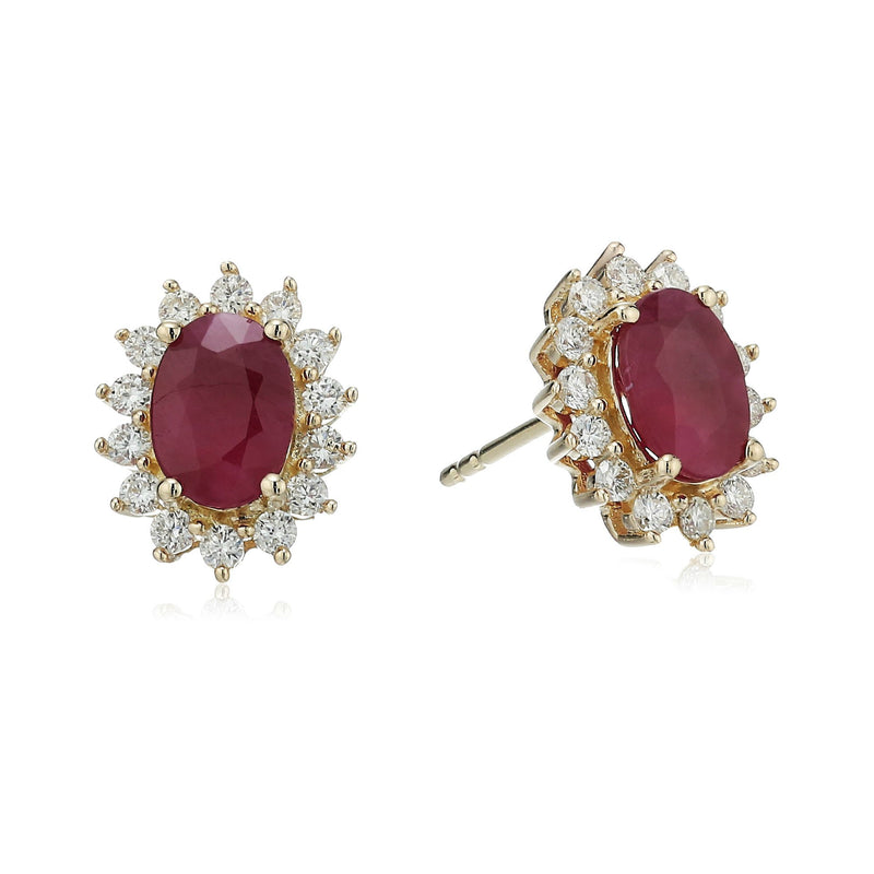 14k Yellow Gold Oval Ruby and Diamond Halo Stud Earrings