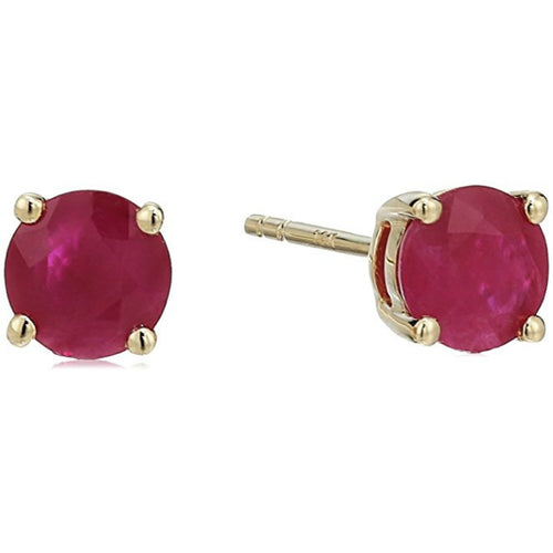 14KT Gold Ruby 5mm Round Earring