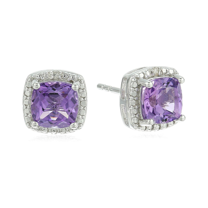Sterling Silver Cushion Amethyst and Diamond Accented Halo Stud Earrings - pinctore