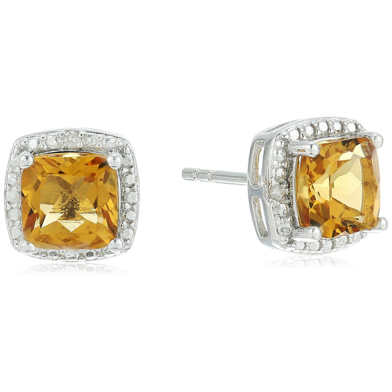 Sterling Silver Cushion Citrine and Diamond Accented Halo Stud Earrings - pinctore