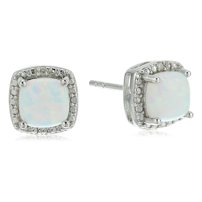 Sterling Silver Cushion Created Opal and Diamond Accented Halo Stud Earrings - pinctore