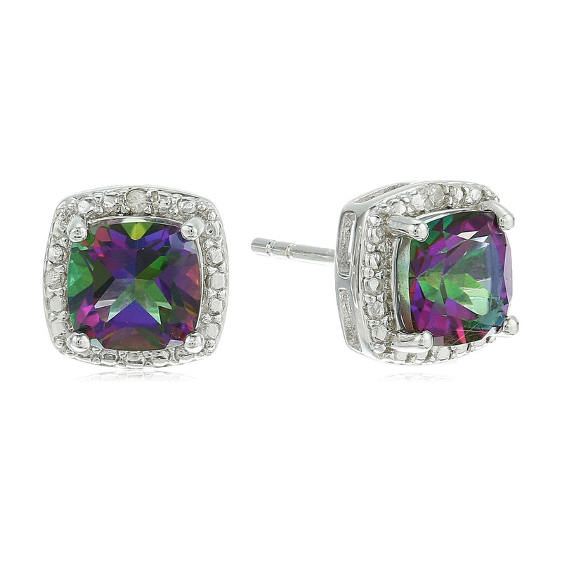 Sterling Silver Cushion Mystic Topaz and Diamond Accented Halo Stud Earrings - pinctore