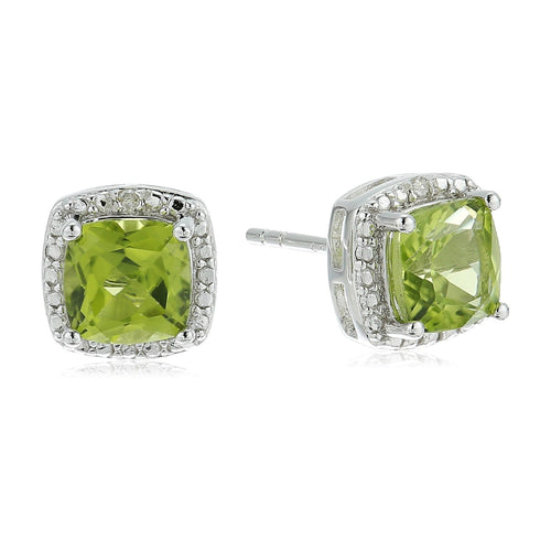 Sterling Silver Cushion Peridot and Diamond Accented Halo Stud Earrings - pinctore