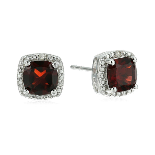 Sterling Silver Cushion Garnet and Diamond Accented Halo Stud Earrings - pinctore