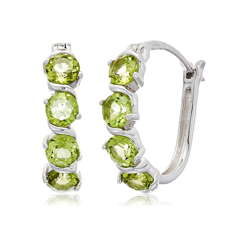 "Sterling Silver Peridot Hoop Earrings, 1"" - pinctore"
