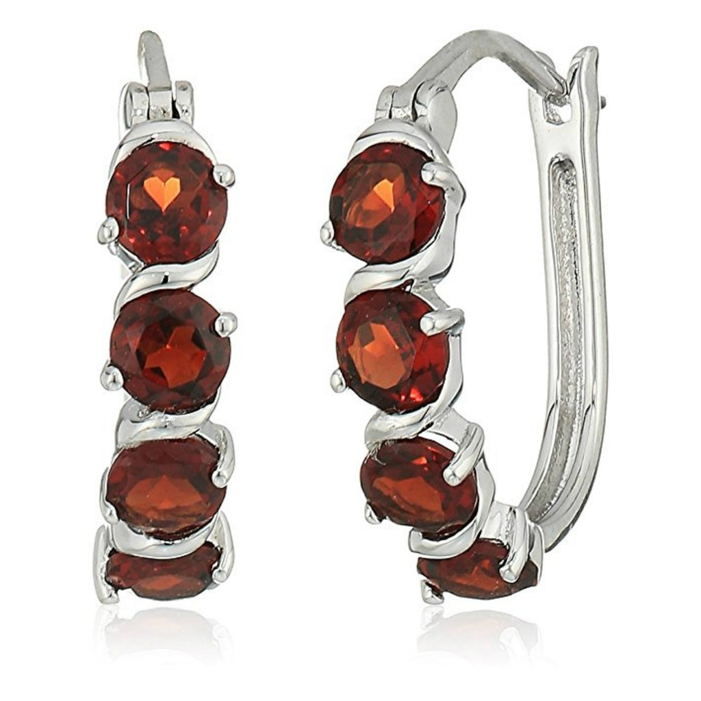 "Sterling Silver 2 1/4 cttw Garnet Hoop Earrings, 1"" - pinctore"