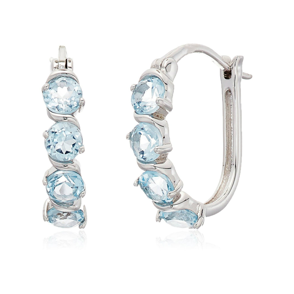 Sterling Silver 2 cttw Blue Topaz Hoop Earrings, 1""