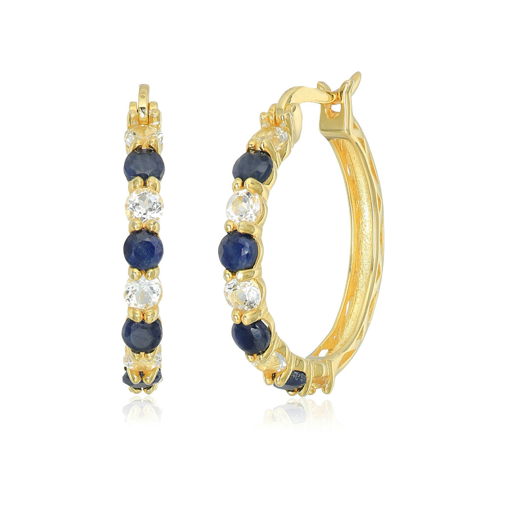 "Pinctore Yellow Gold-Plated Silver 2 cttw Blue Sapphire and White Topaz Hoop Earrings, 1"" - pinctore"
