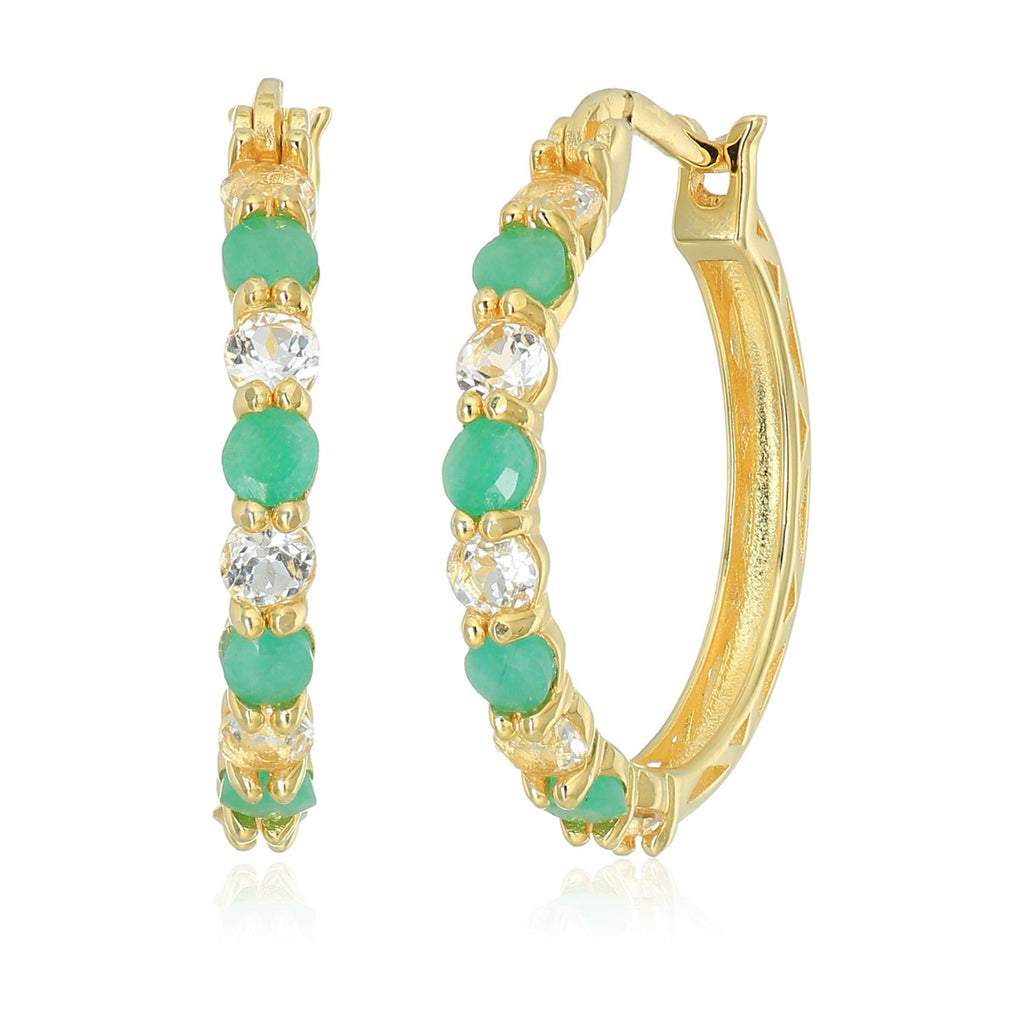 Yellow Gold-plated Silver 2 cttw Emerald and White Topaz Hoop Earrings, 1""