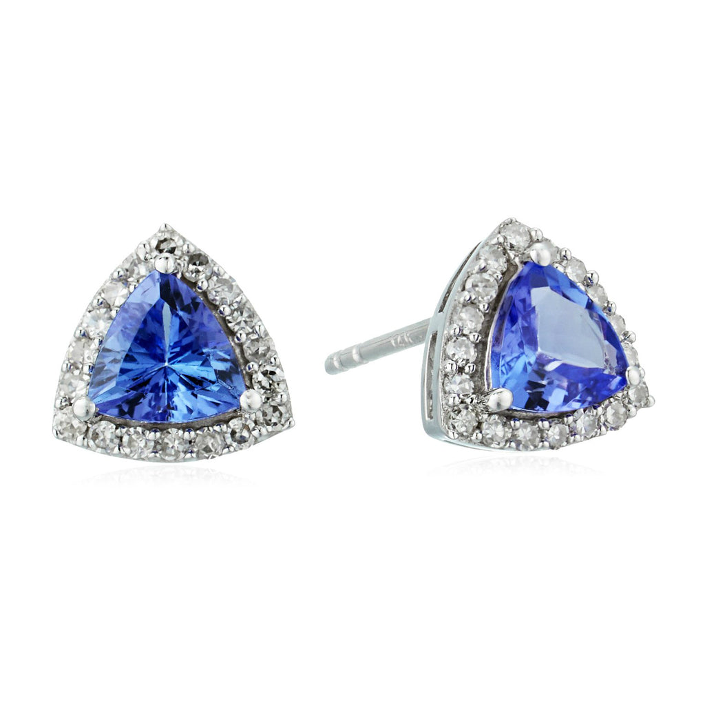 14k White Gold 3/4 cttw Trillion Tanzanite and Diamond Halo Stud Earrings (1/8 cttw, I-J Color, Clarity I2-I3) - pinctore
