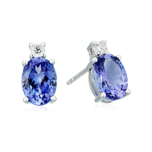 Pinctore 14k White Gold 2 cttw Oval Tanzanite and Diamond Stud Earrings