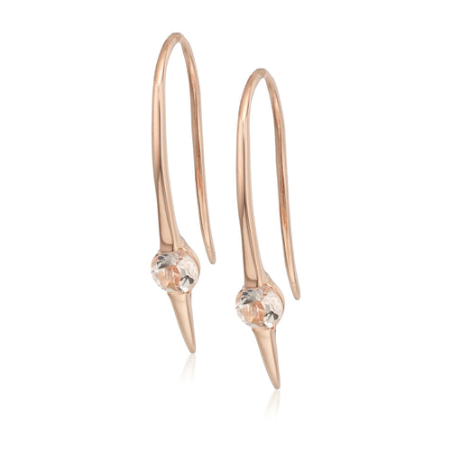Pinctore Rose Gold-Plated morganite wire drop earrings - pinctore