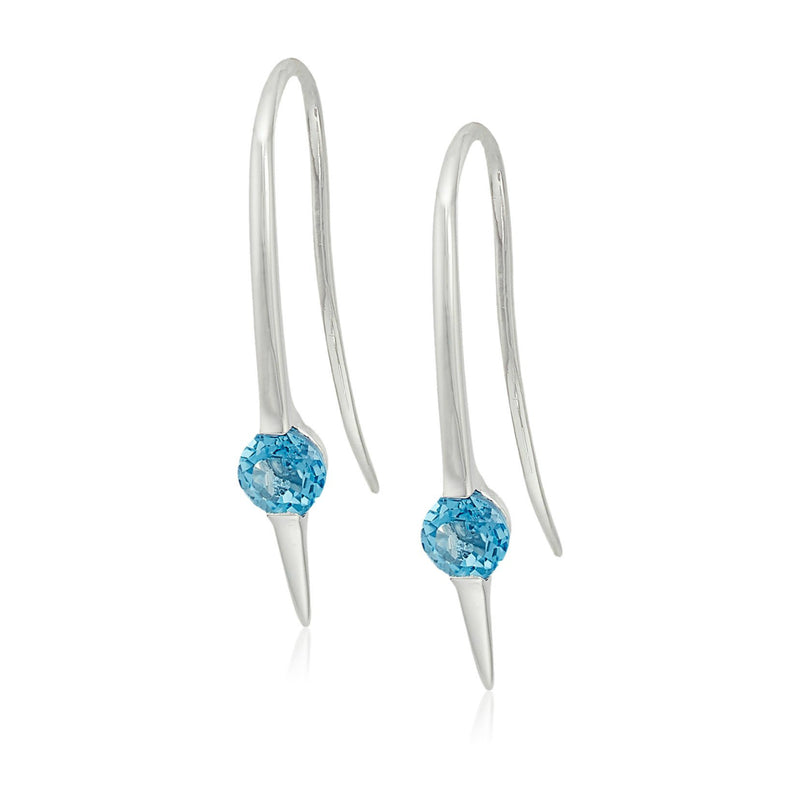Sterling Silver Swiss blue topaz Wire Drop Earrings - pinctore
