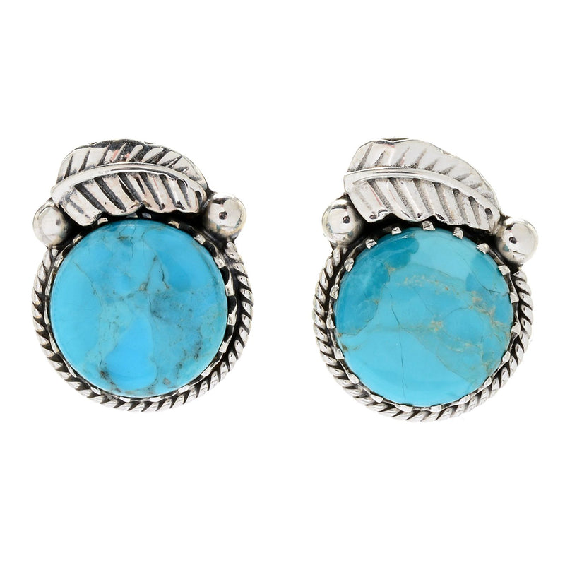 Pinctore Sterling Silver 15mm Round Mohave Turquoise Leaf Stud Earrings - pinctore