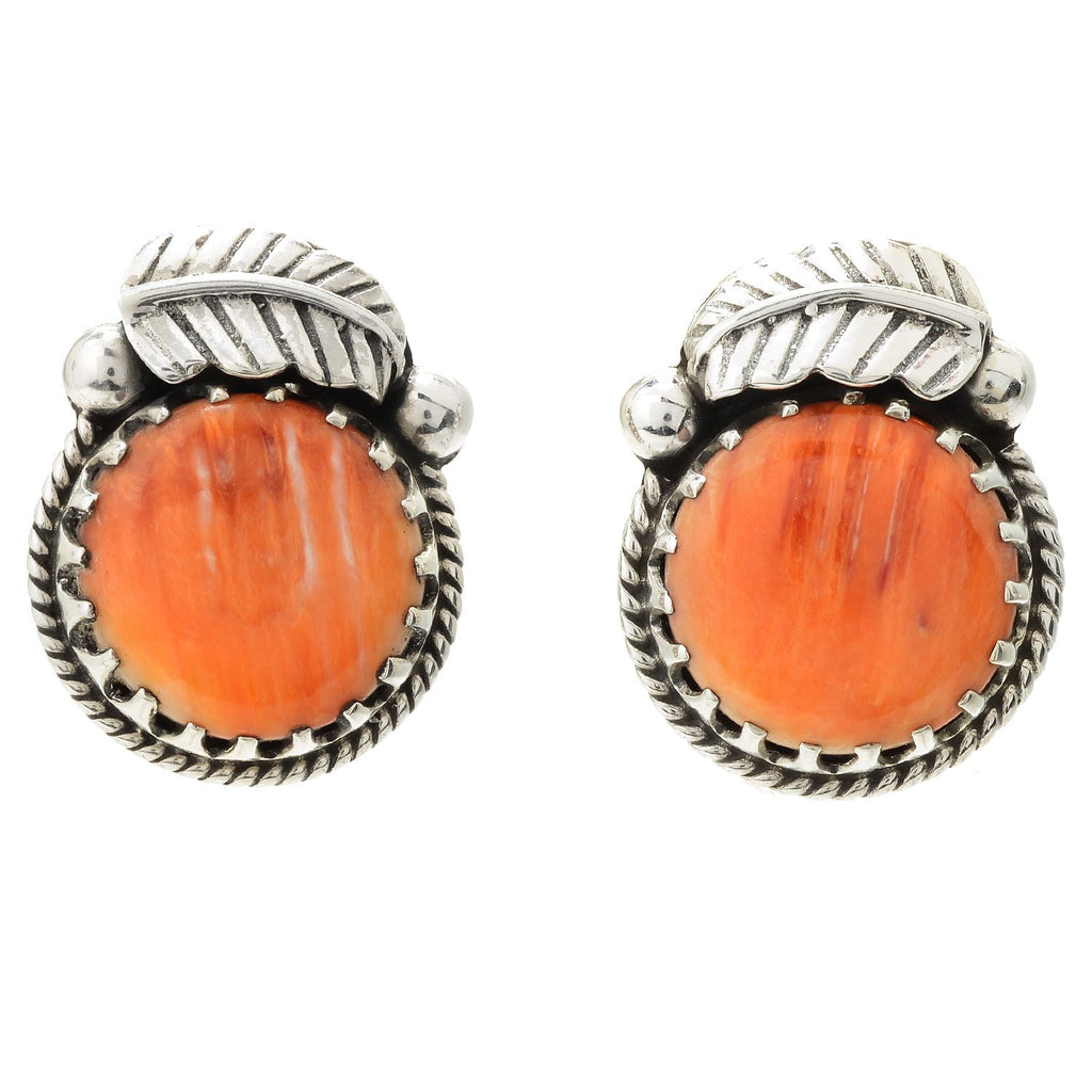 Pinctore Sterling Silver 15mm Round Orange Spiny Oyster Leaf Stud Earrings