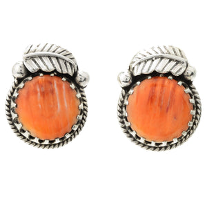 Pinctore Sterling Silver 15mm Round Orange Spiny Oyster Leaf Stud Earrings - pinctore