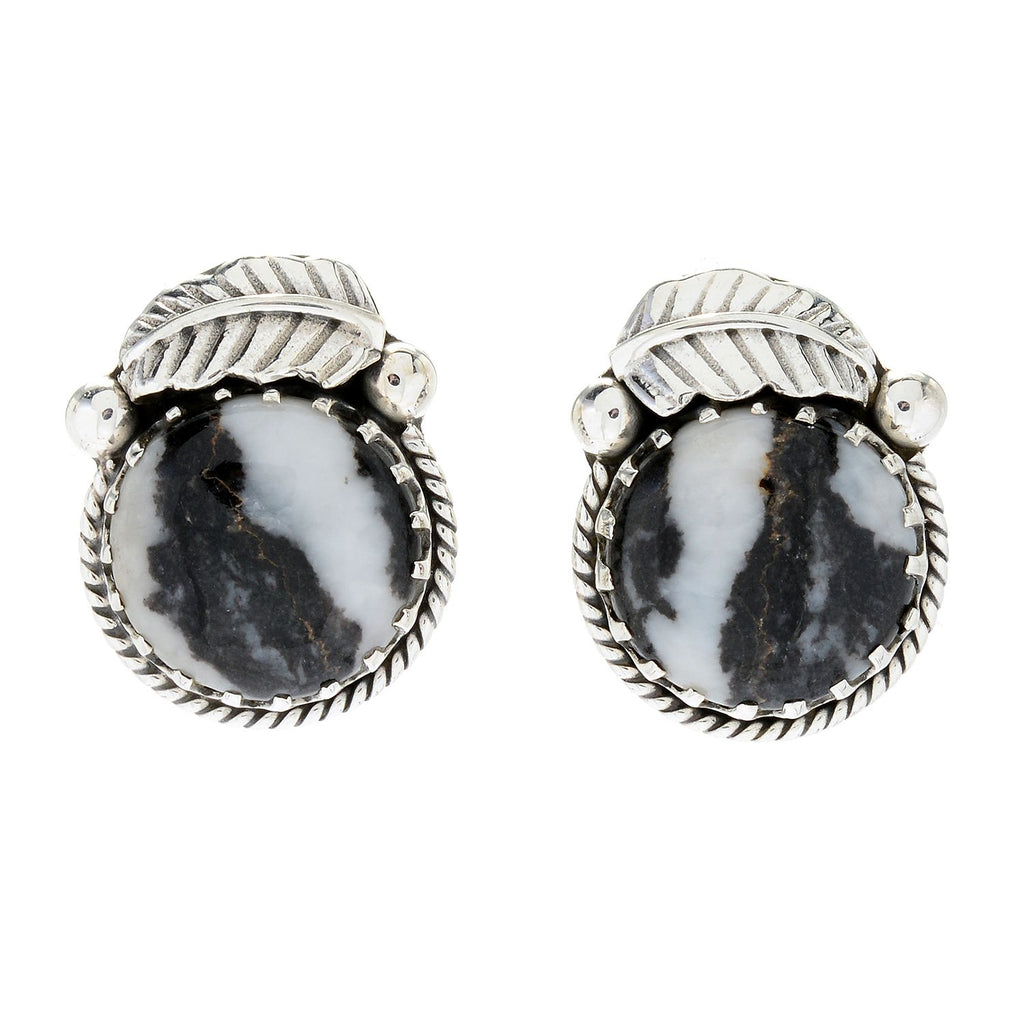 Pinctore Sterling Silver 15mm Round White Buffalo Leaf Stud Earrings - pinctore