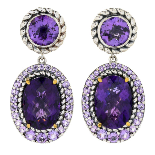 "Pinctore Sterling Silver 1.25"" 14.08ctw Multi Cut Amethyst Halo Drop Earrings - pinctore"