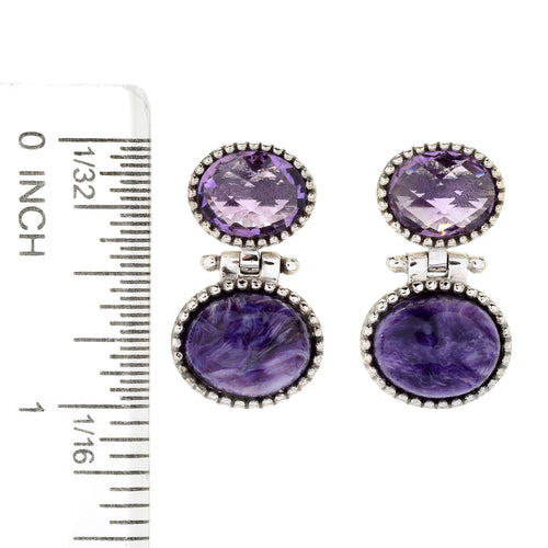 Pinctore Sterling Silver Oval Amethyst Beaded Drop Earrings