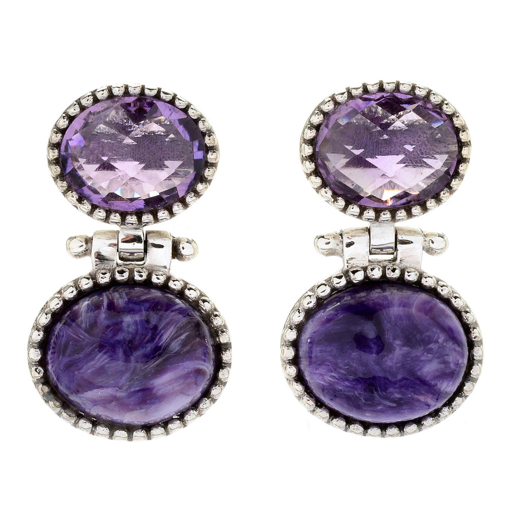 Pinctore Sterling Silver Oval Amethyst Beaded Drop Earrings - pinctore