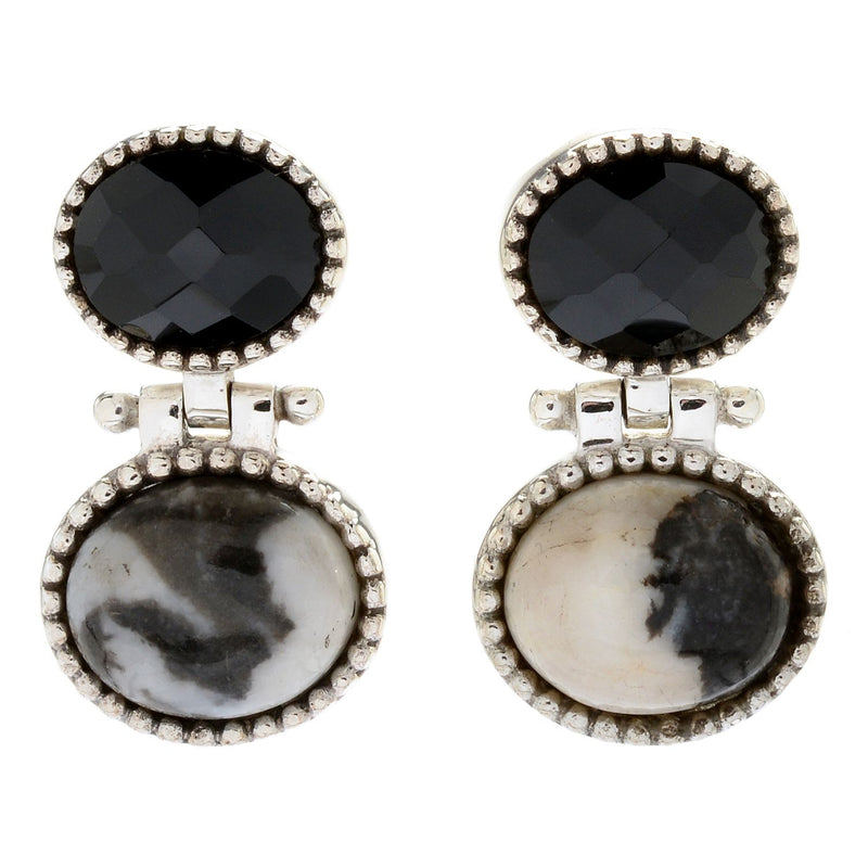 Pinctore Sterling Silver Oval Black Spinel Beaded Drop Earrings - pinctore