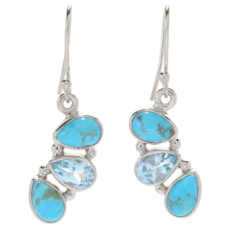 "Pinctore Sterling Silver 1.25"" Turquoise & Topaz Drop Earrings - pinctore"