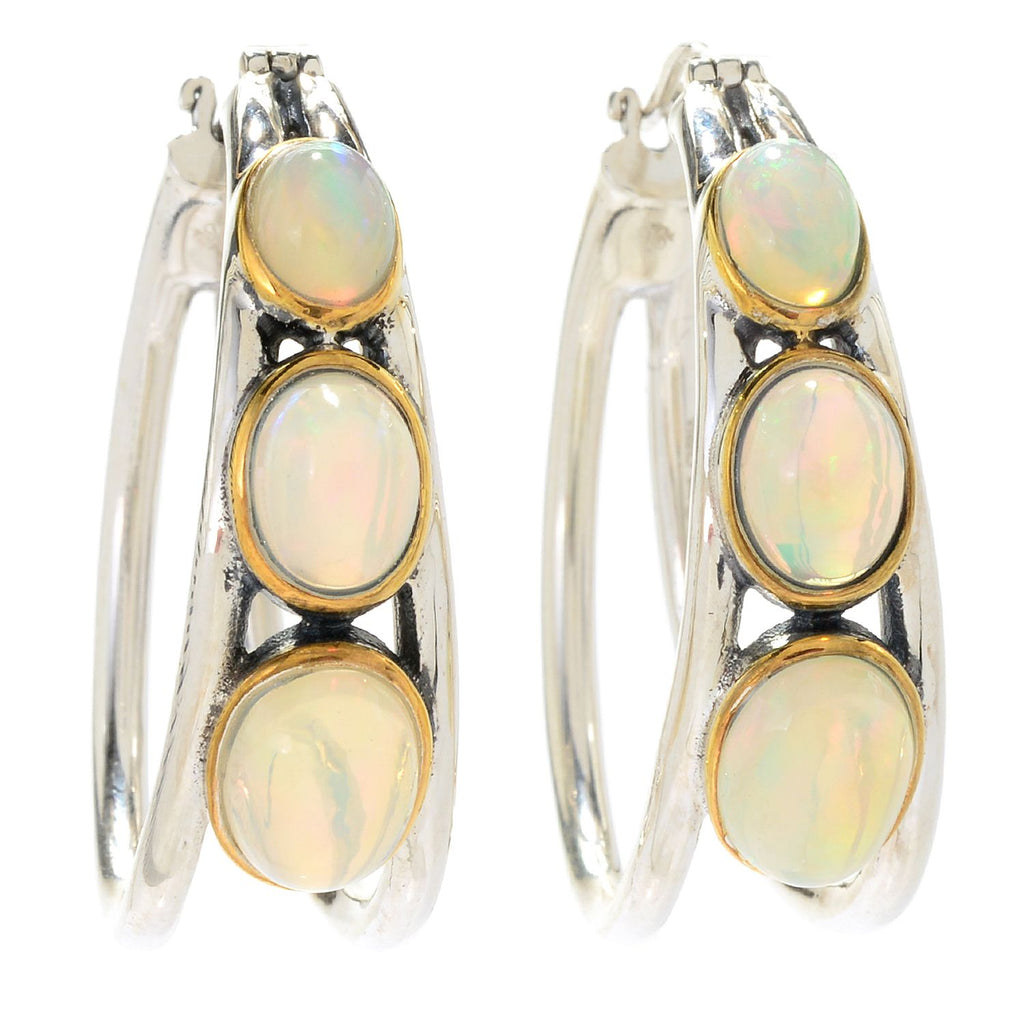 "Pinctore Sterling Silver 1.25"" Opal Graduated 3-Stone Hoop Earrings"