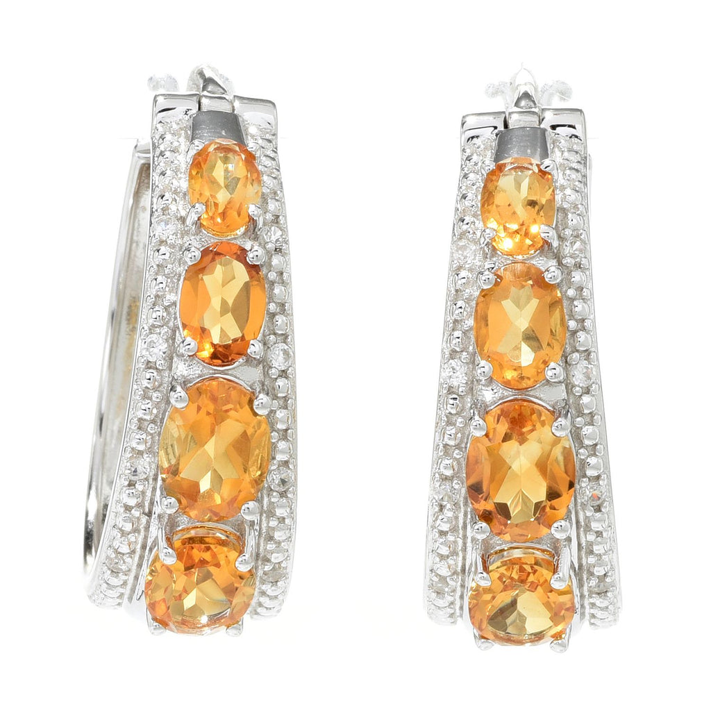"Pinctore Sterling Silver 1.25"" Citrine & White Zircon Hoop Earrings"