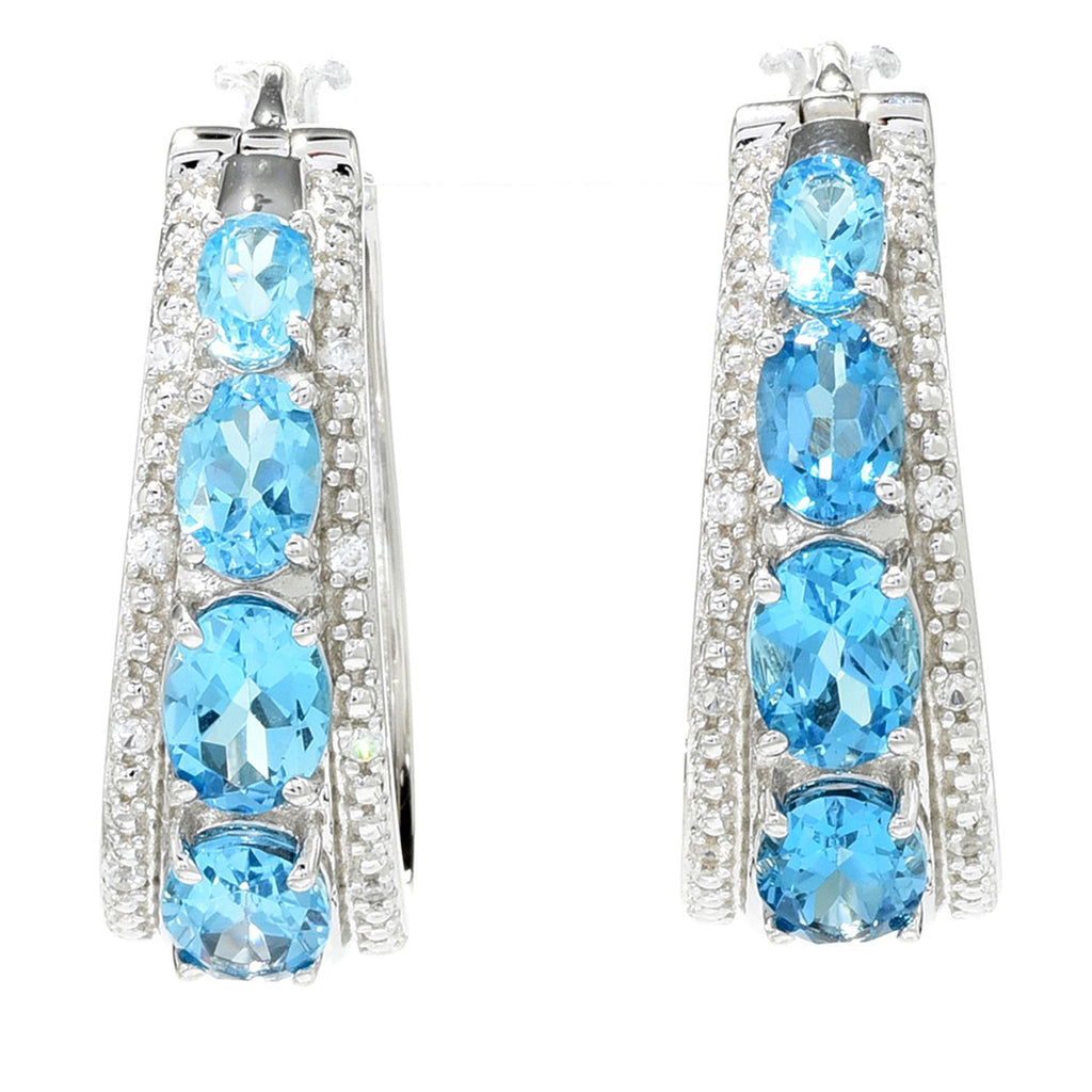 "Pinctore Sterling Silver 1.25"" Blue Topaz & White Zircon Hoop Earrings"