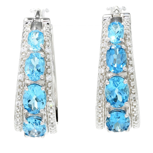 "Pinctore Sterling Silver 1.25"" Blue Topaz & White Zircon Hoop Earrings - pinctore"