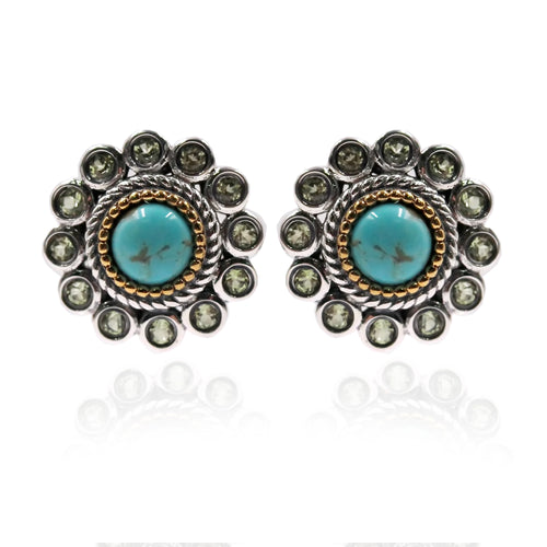 925 Sterling Silver Tyrone Turquoise, Peridot Stud Earring