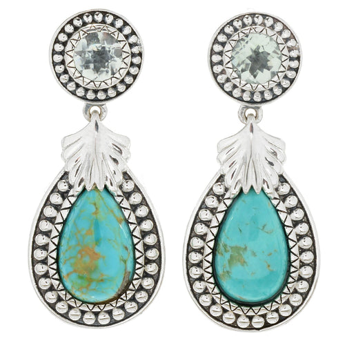 Pinctore 925 Sterling Silver Green Amethyst,Tyrone Turquoise Earring