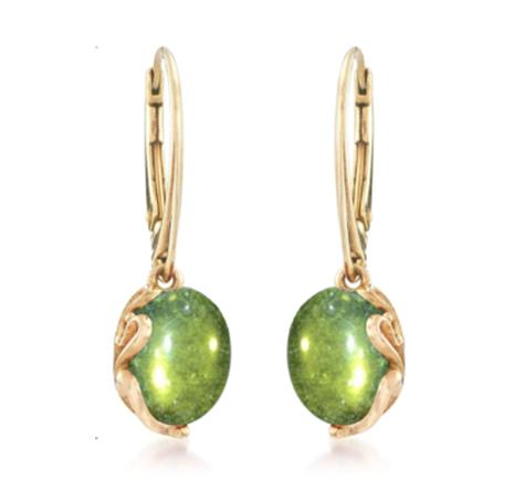 925 Sterling Silver Green Amber Earring