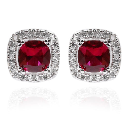 925 Sterling Silver Created Ruby, Created White Sapphire Stud Earring