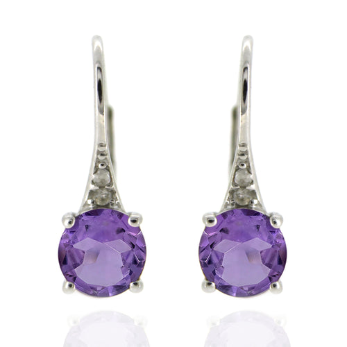 925 Sterling Silver With 6mm Round Brazilian Amethyst, Diamond Dangle Earring